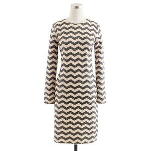 J. Crew Zig Zag Sequin Cream Dress Size Small